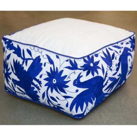 Pouf carré bleu Otomi ViBamos