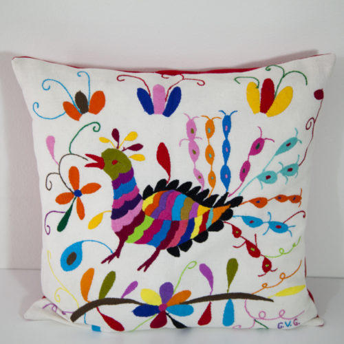 Coussin multicolore 1 Otomi ViBamos tissu mexicain.