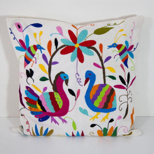 Coussin multicolore 2 Otomi ViBamos tissu mexicain.