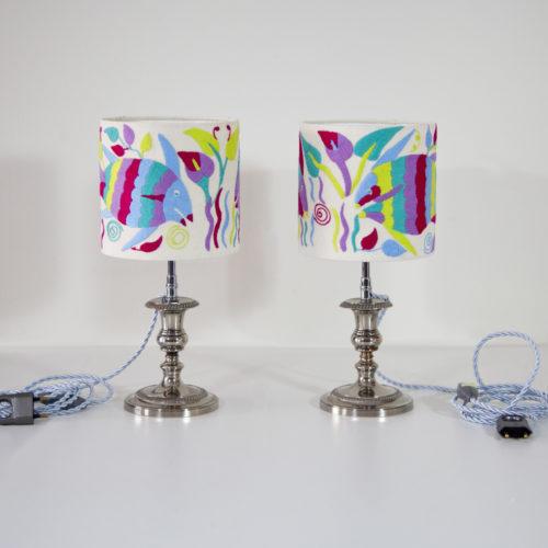 Lampes Nolwenn et Julie ViBamos tissu Otomi mexicain